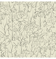 Seamless of a outline peonies and leafs vector