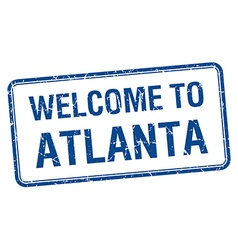 Welcome to atlanta blue grunge square stamp vector