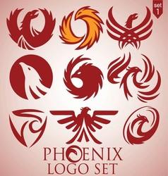 Phoenix logo set 1 vector