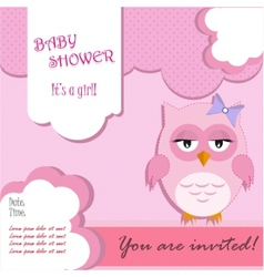 Baby shower for girl with owl vector image vector image