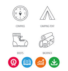 Backpack camping tend and hiking boots icons vector
