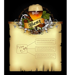 Beer document template vector image vector image