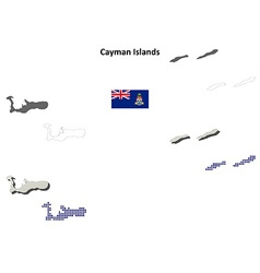 Cayman islands outline map set vector