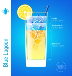 Cocktail Blue Lagoon cocktail vector image vector image
