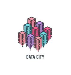 Data city skyscrapers vector
