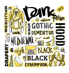 Doodle set dark fashion cyberpunk style vector