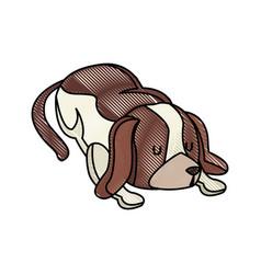 drawing dog pet animal sleeping image vector image