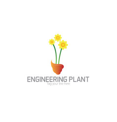 Enginering floral logo vector