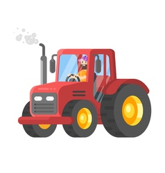 Flat style of tractor-driver vector