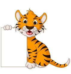 funny tiger cartoon posing with blank sign vector image