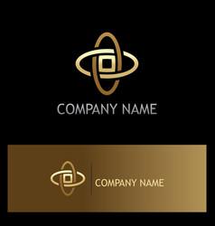 gold orbit technology logo vector image