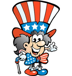 Hand-drawn of an Old Happy Uncle Sam vector image
