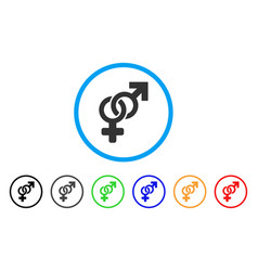 heterosexual symbol rounded icon vector image