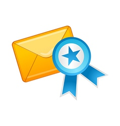 icon mail and medal vector image vector image