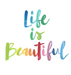 Life is beautiful calligraphic poster vector