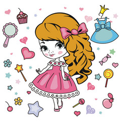 little girl design elements vector image vector image