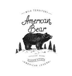 Old label with bear vector