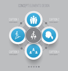People icons set collection of network group vector