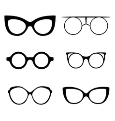 Retro collection of 6 various glasses Sunglasses vector image vector image