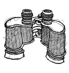 Scribble series - binoculars vector