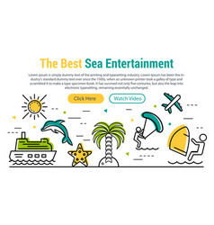 Sea entertainment - rectangular site header vector