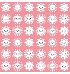 Seamless pattern kawaii snowflake set white funny vector