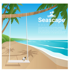 Seascape background with swing on tropical beach vector