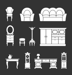 Set icons of retro furniture and home accessories vector image vector image