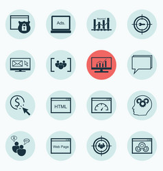 Set of 16 seo icons includes loading speed web vector