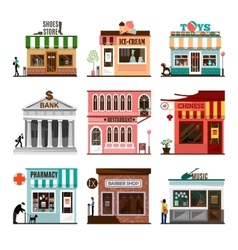 Set of flat shop building facades icons vector image