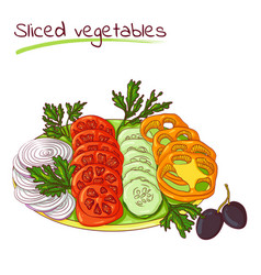 Sliced vegetables on a plate vector