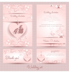 Wedding set the template pink vector image vector image