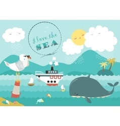 Whalesteamship and seagull in blue sea vector image