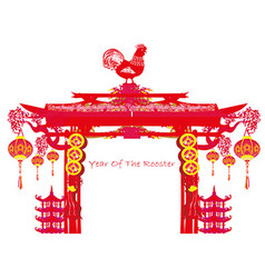 Year of rooster - new year frame vector