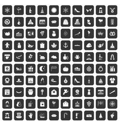 100 festive day icons set black vector