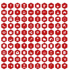 100 patisserie icons hexagon red vector