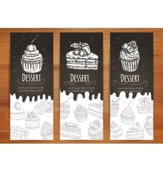 Bakery confectionery pastries desserts poster vector