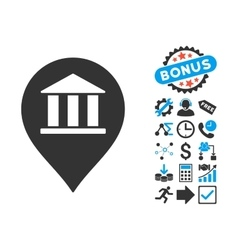 Bank building pointer flat icon with bonus vector