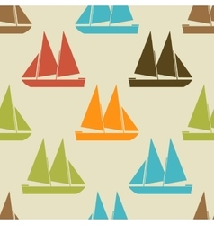 Retro boat seamless pattern vector image