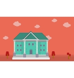 Flat of big house on orange backgrounds vector