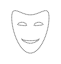 Comedy theatrical masks black dashed icon vector