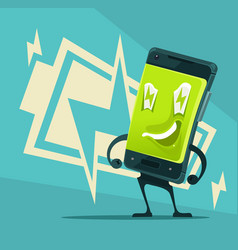 Happy smiling smartphone full energy and power vector