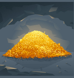 golden treasure in cave vector image
