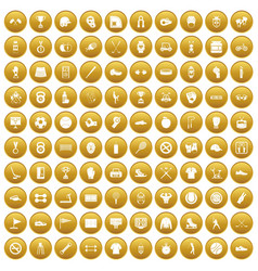 100 sport equipment icons set gold vector image
