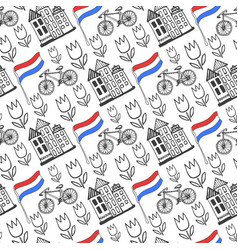 Hand drawn seamless pattern with holland city vector