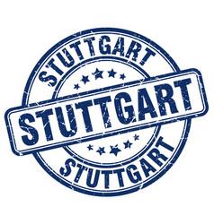 stuttgart blue grunge round vintage rubber stamp vector image