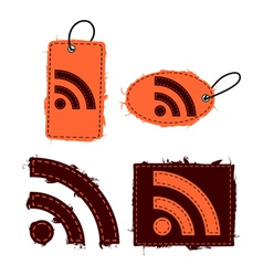 Rss feed icon set vector