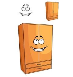 Cartoon wooden bedroom cupboard or wardrob vector image