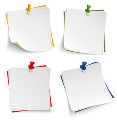 Note paper with push colored pin template vector