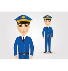 Friendly postman in blue uniform vector